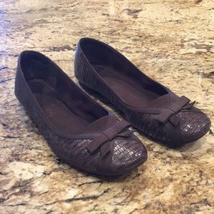 {Sam & Libby}Sz 9 Brown Faux Reptile Flats w/Bow